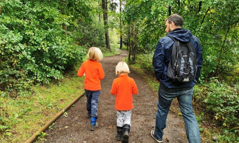 Following the Gruffalo trail through woodland