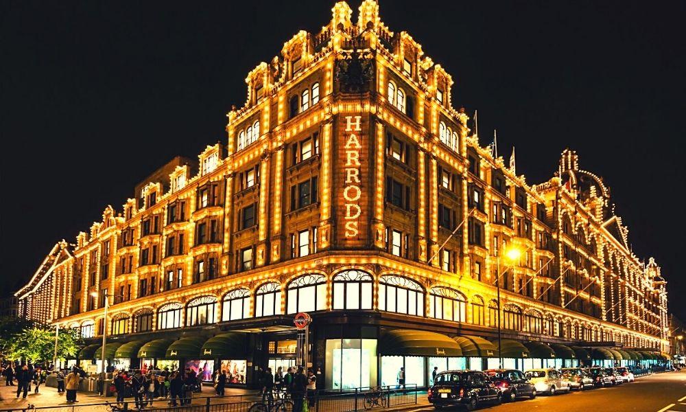 Harrods lights at night