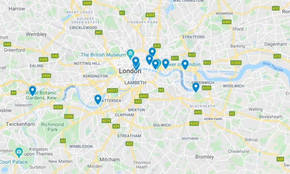 Map of the igloo restaurants in London