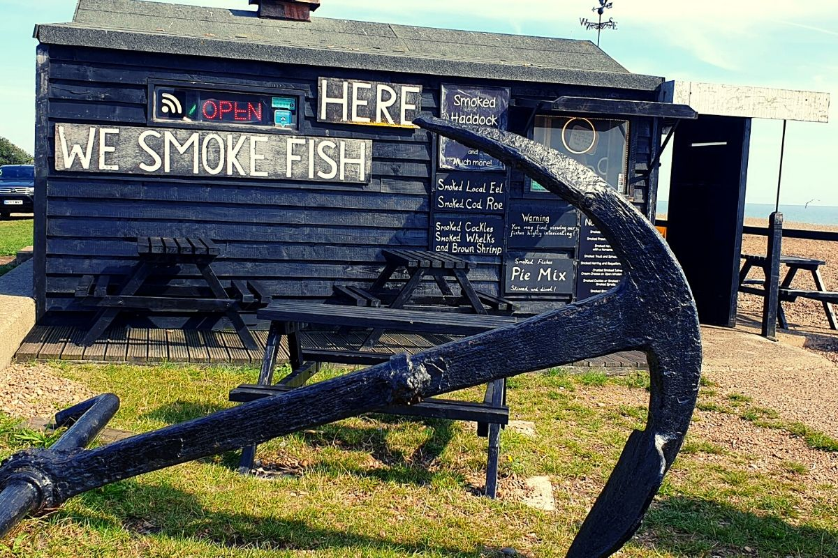 Seafood huts on Aldeburgh beachfront