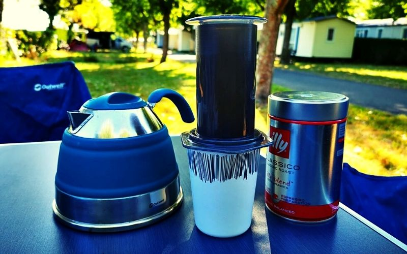 Aeropress and Outwell Collapsible Kettle