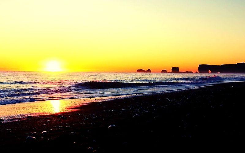 Reynisfjara (Black Sand Beach) at sunset in October