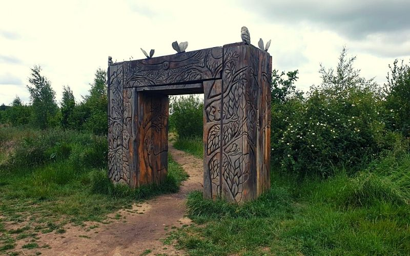 The wooden arch at Heartwood Forest