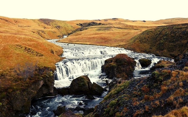 View at the top of Skogafoss