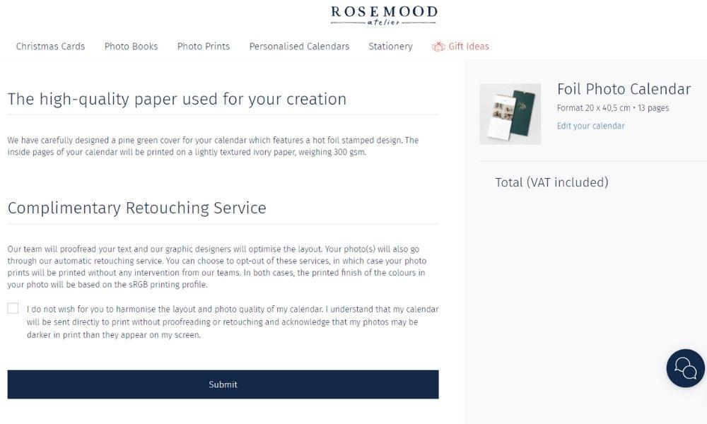 Retouch service Rosemood photo calendar