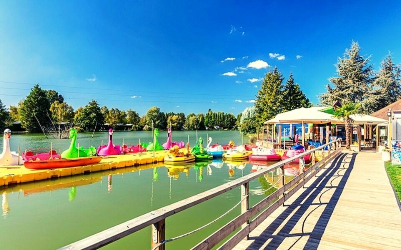 Watersports lake and cafe area