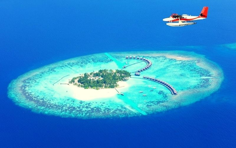 paradise island with seaplane