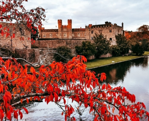 Autumn colours at Leeds Castle in Kent.