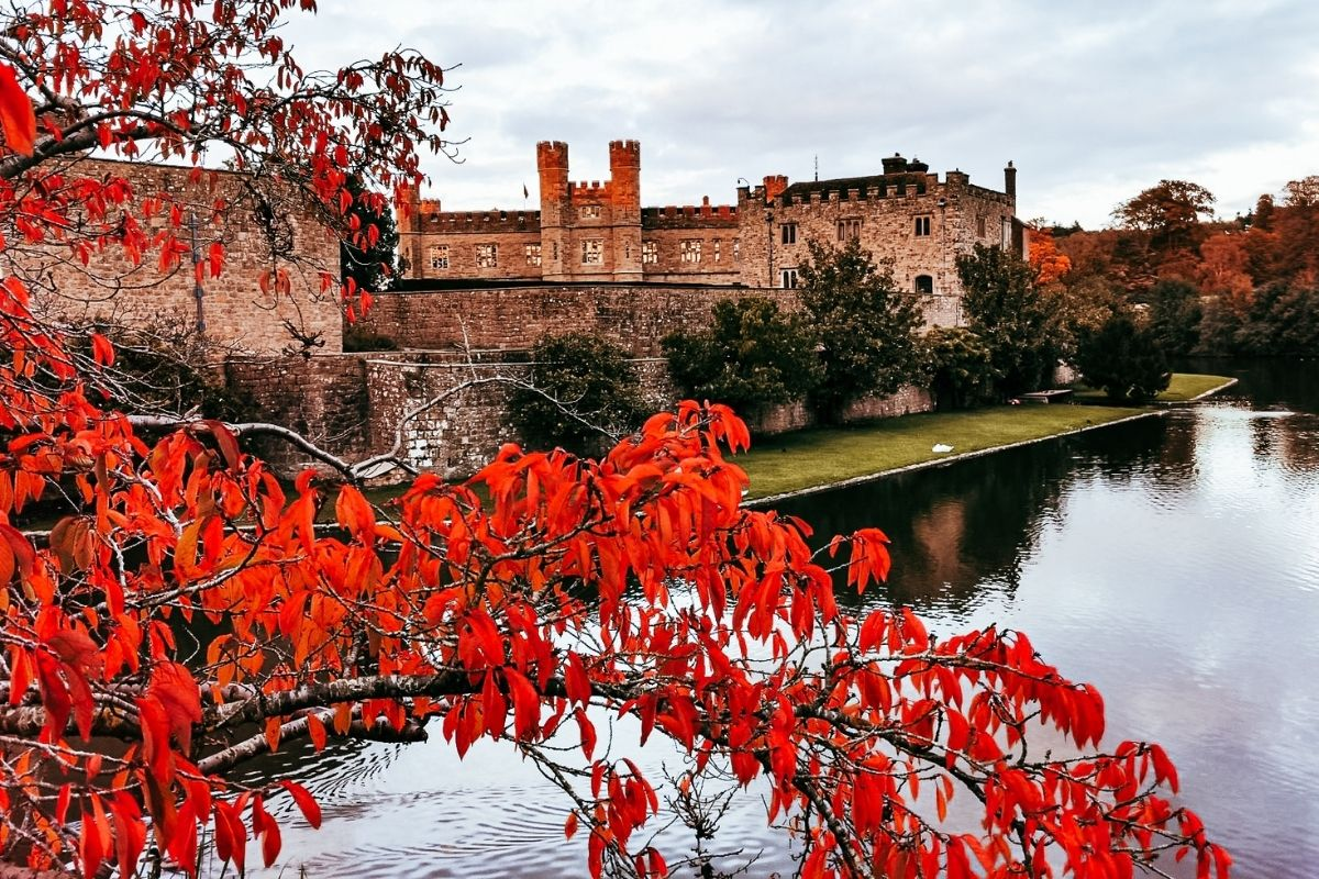 Autumn colours at Leeds Castle in Kent.
