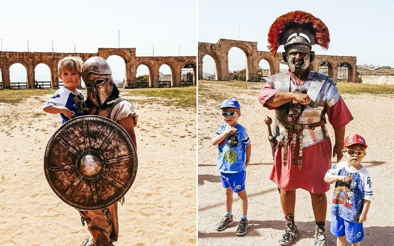Meeting the gladiators in Jerash