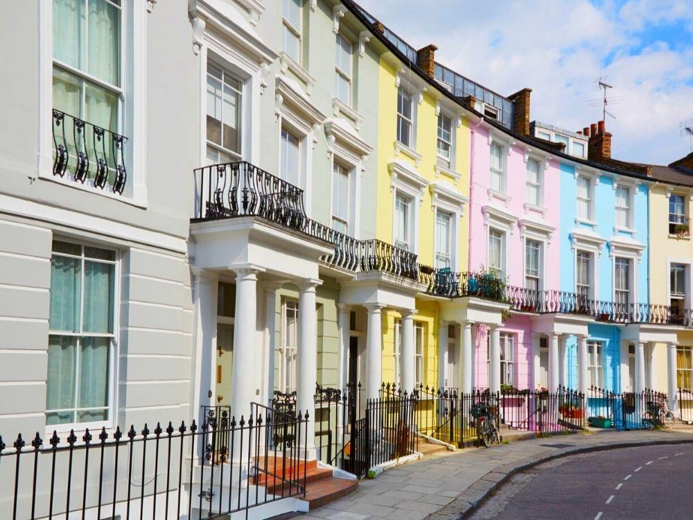 Colourful Regency houses of Primrose Hill.