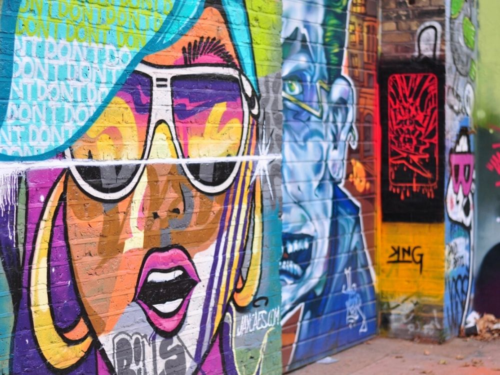 Colourful street art in London's East End.
