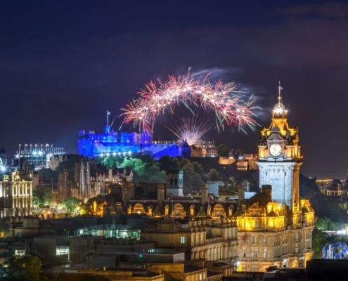 Fireworks over Edinburgh Castle.