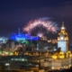 Fireworks over Edinburgh Castle.