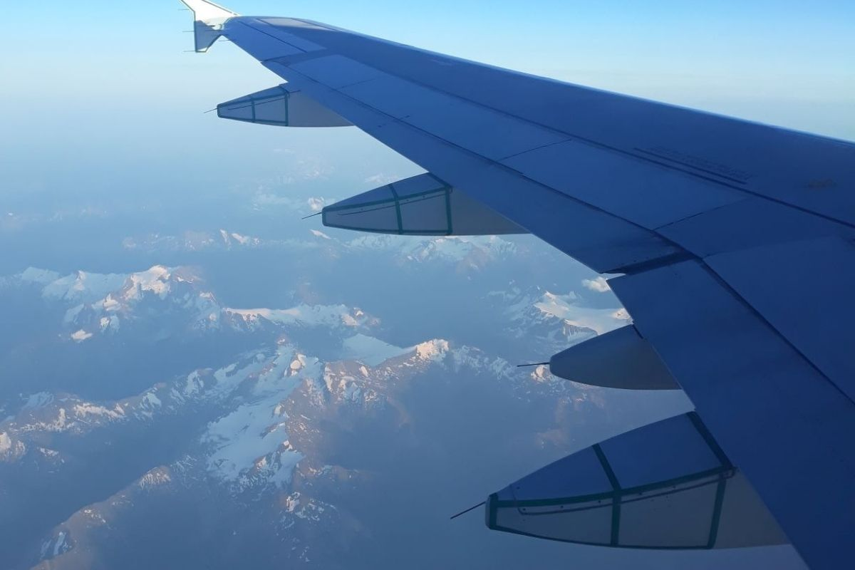 Flying over the Rocky Mountains in Canada.
