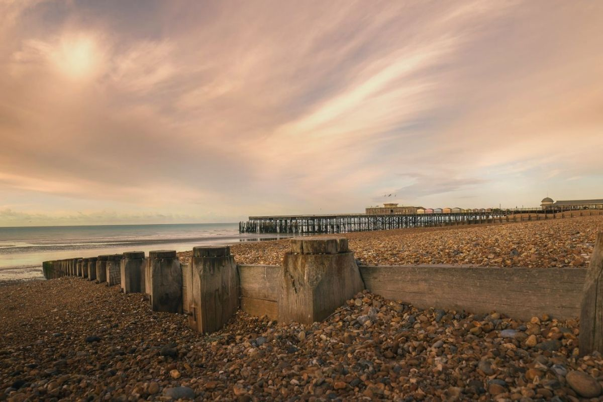 Hastings Pier at sunset.