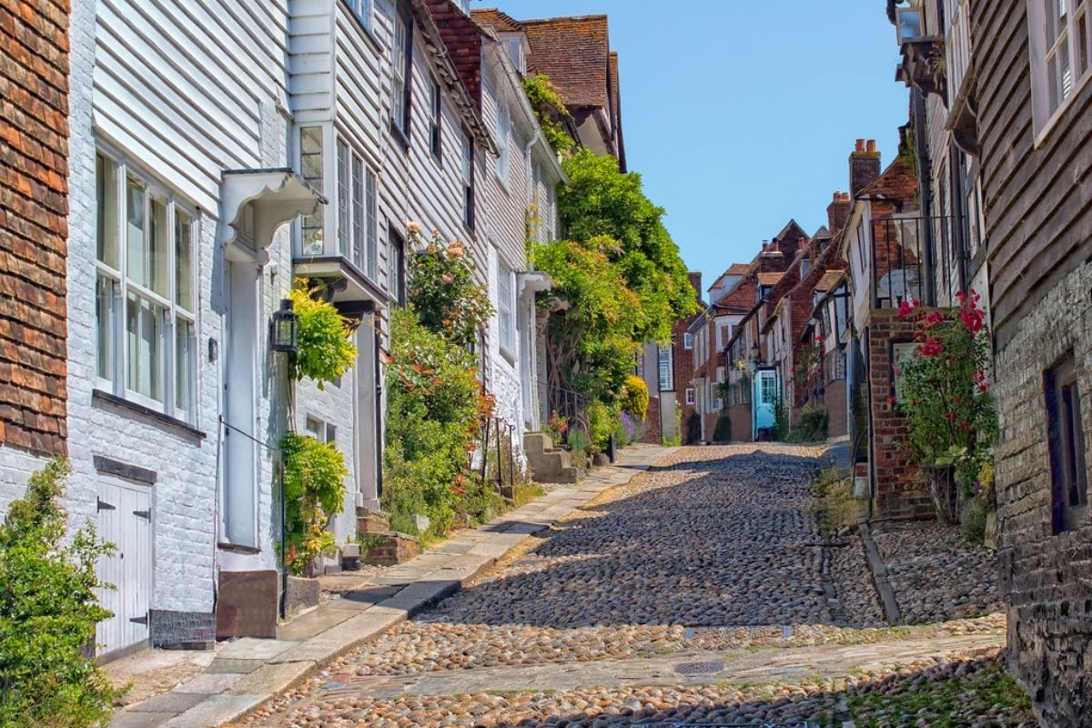 Mermaid Street in Rye, one of the best day trips from London by train.