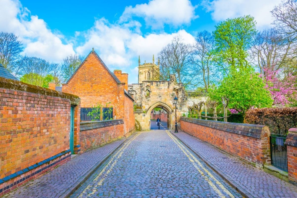 Prince Rupert Gateway leading to Leicester Castle.