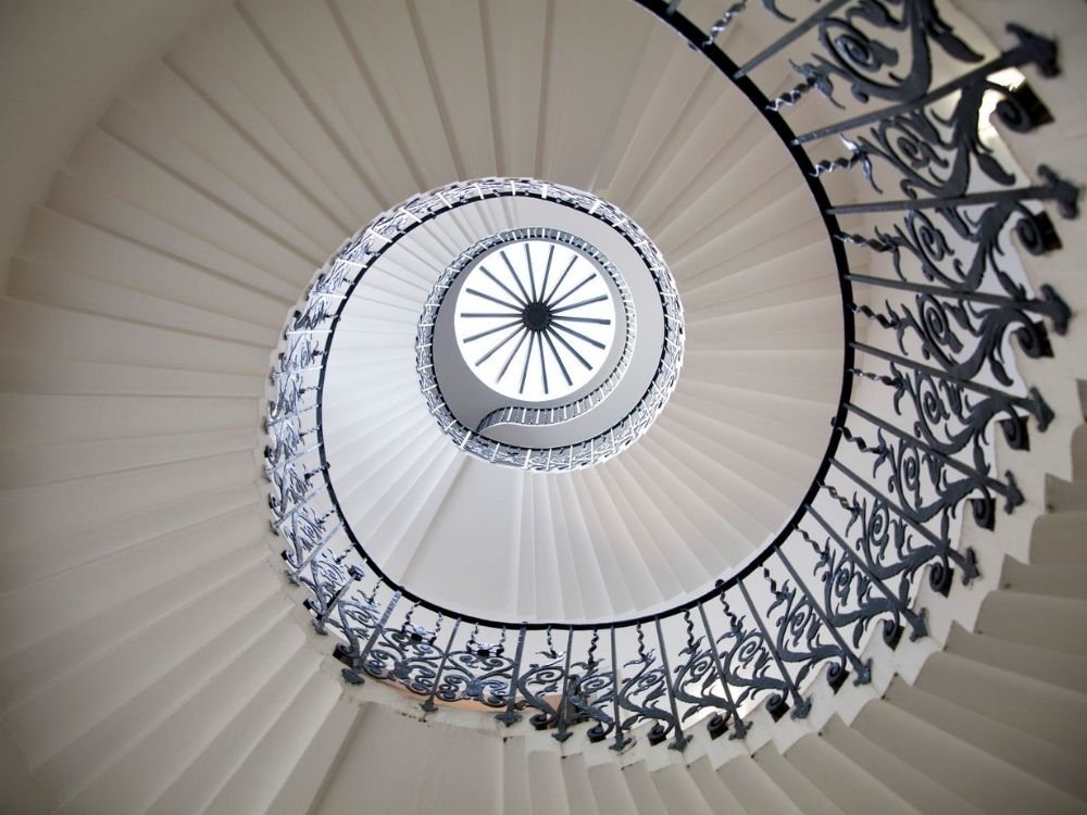 The Tulip Staircase in Queen's House, Greenwich.