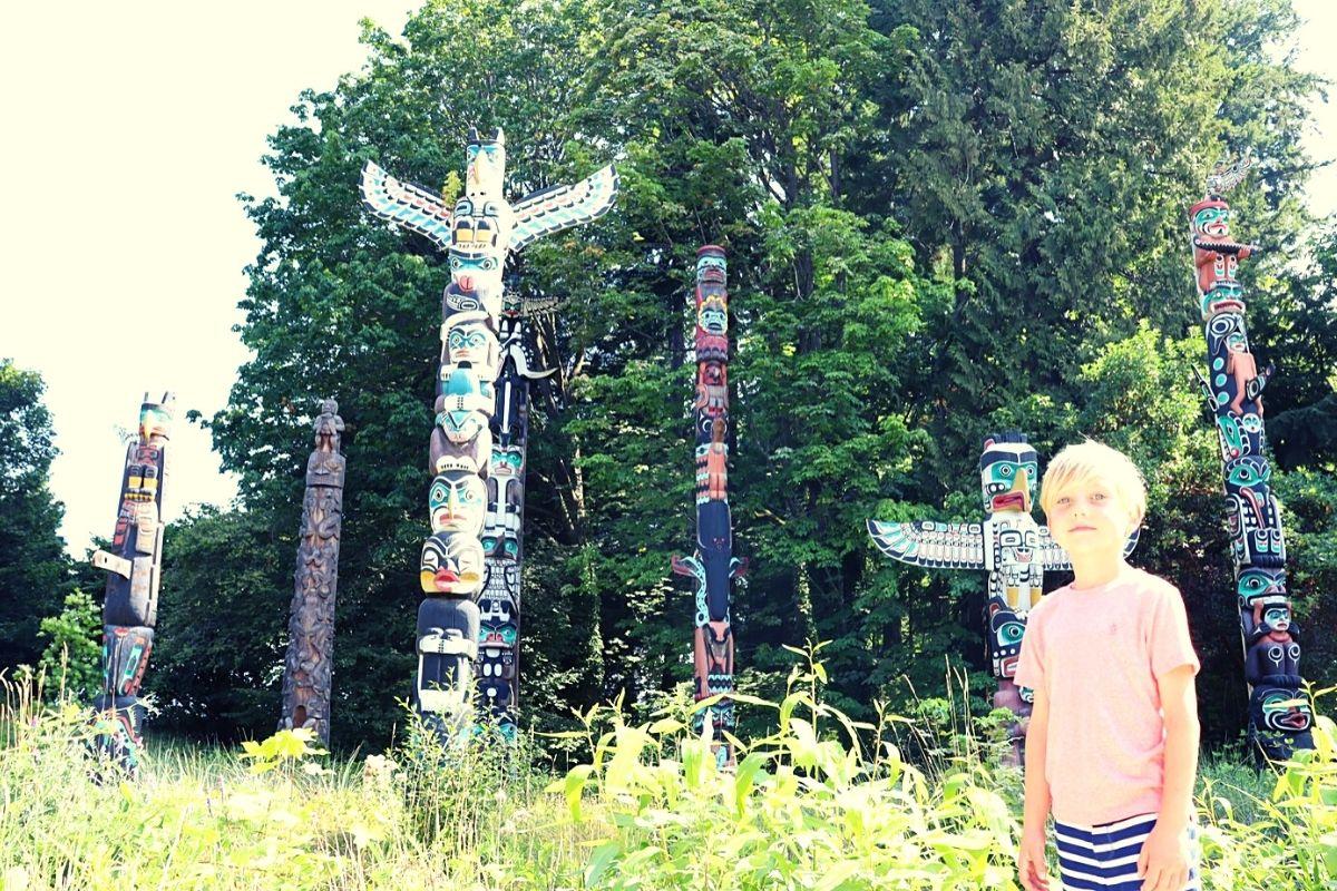 Totem Poles in Stanley Park in Vancouver.