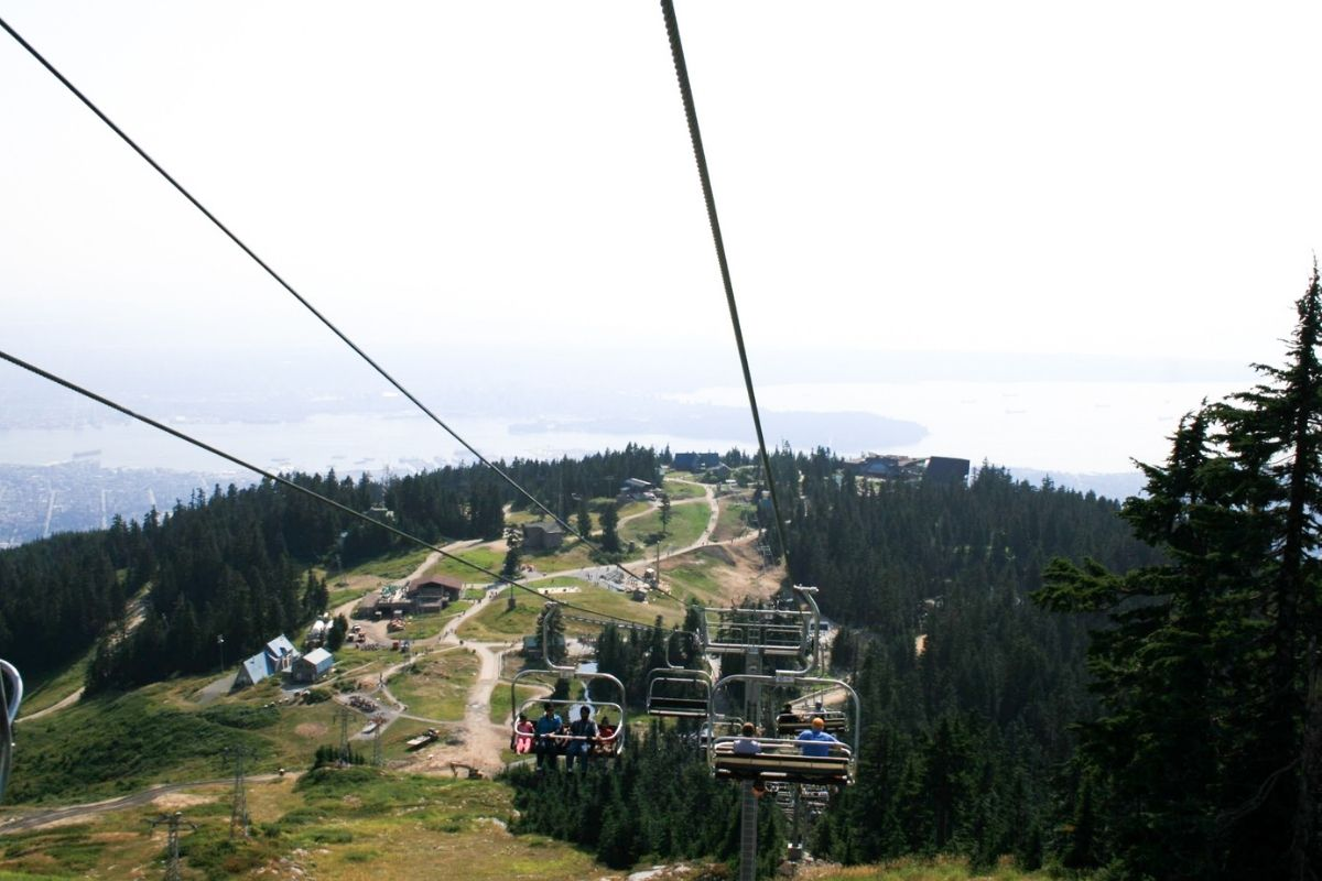 View from chair lift on Grouse Mountain back to Downtown Vancouver.
