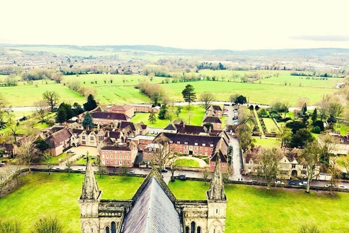 View from the top of Salisbury Cathedral.