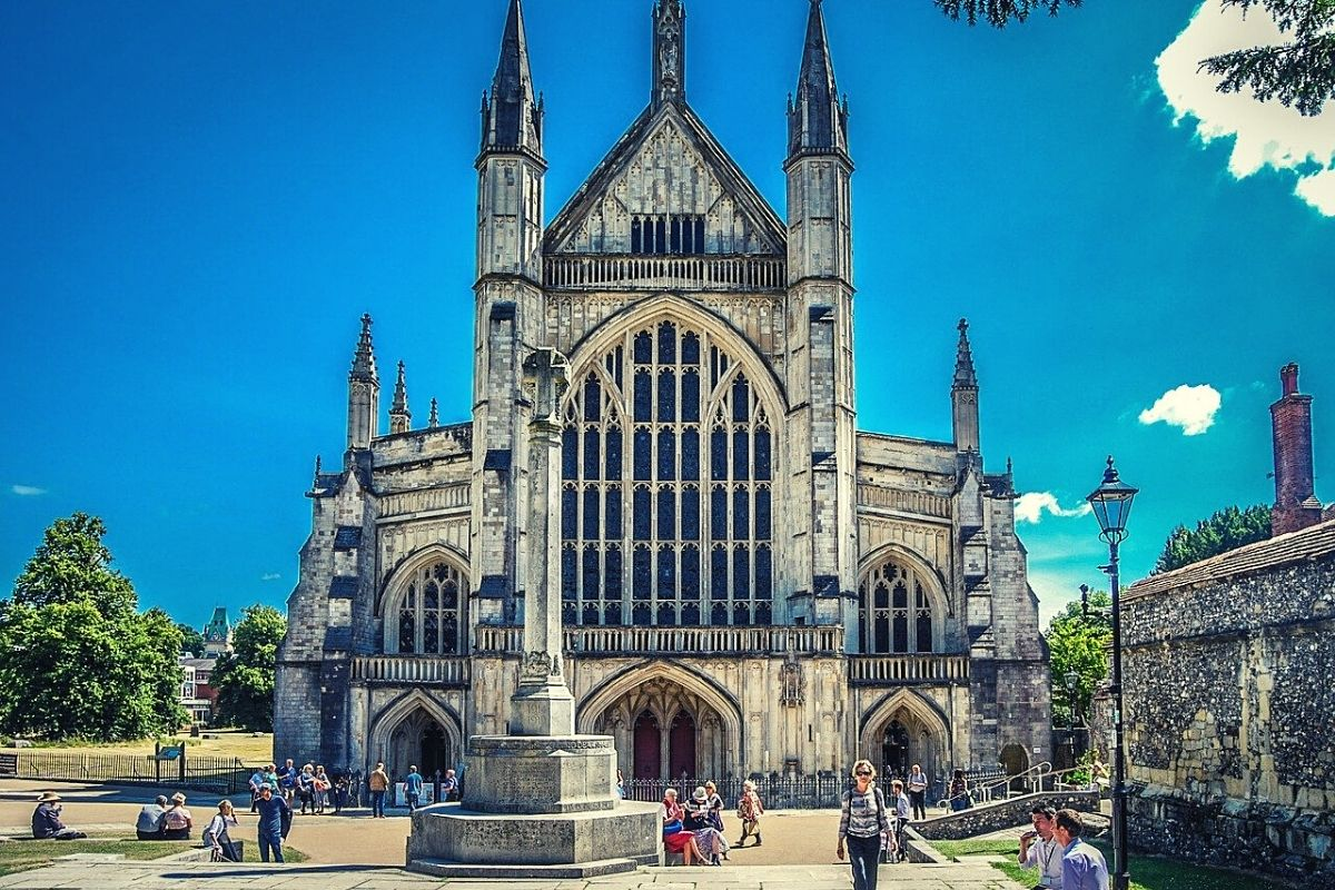 Winchester Cathedral on a sunny day.