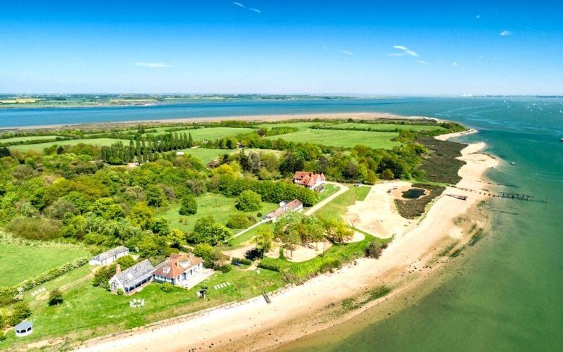 Aerial photo of Osea Island in Essex.