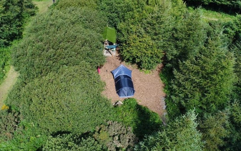 Aerial view of Kitewood Camping pitches with ensuite facilities