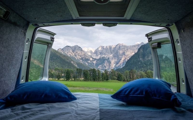 Beautiful mountain views from a campervan.