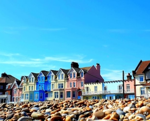 Colourful Victorian houses on Aldeburgh seafront.