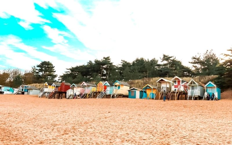 Colourful beach huts at Wells next the Sea in Norfolk.