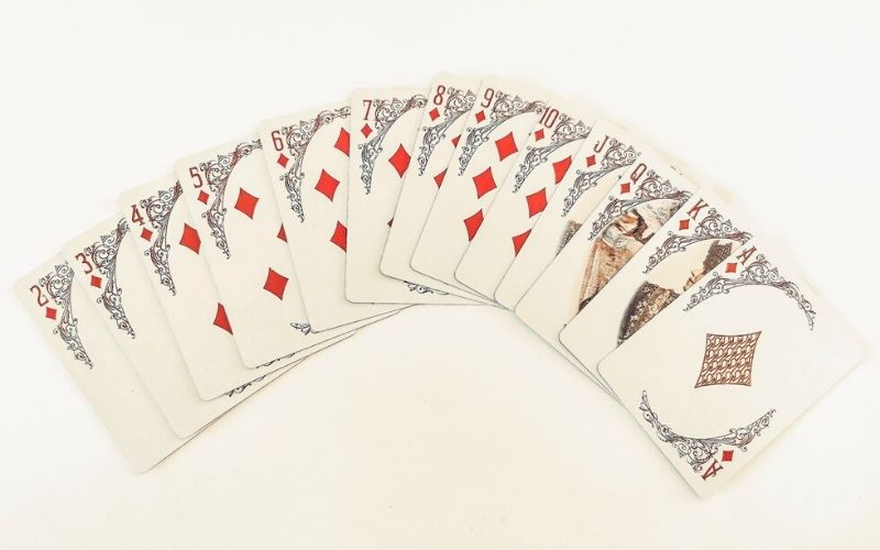 Diamond suit in a pack of playing cards.