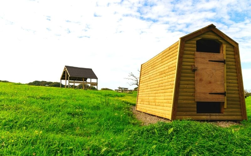 Ensuite facilities at Cowpots Camping in Wales.