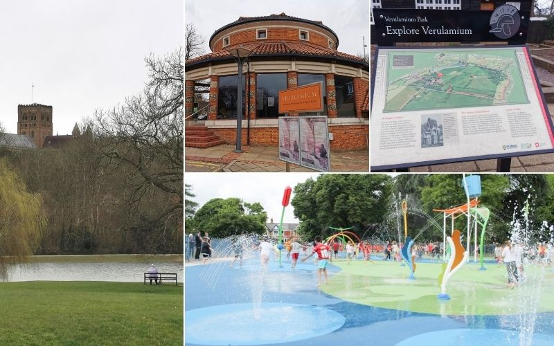 Exploring Verulamium Park in St Albans in Hertfordshire.