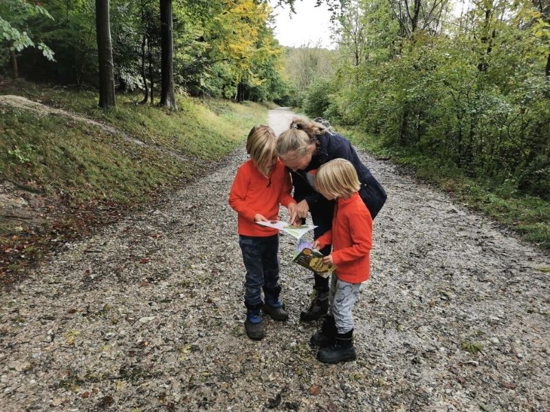 Family walk searching for the Gruffalo.