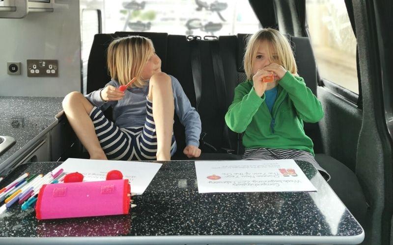 Homeschooling in the campervan with kids.