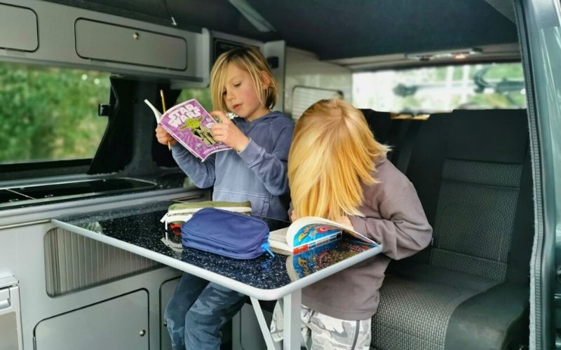 Keeping kids entertained on a road trip.