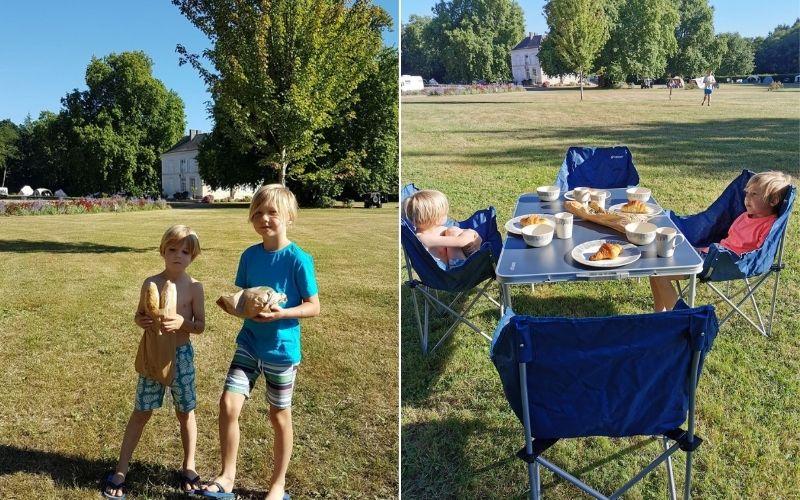 Kids running errands on the campsite.
