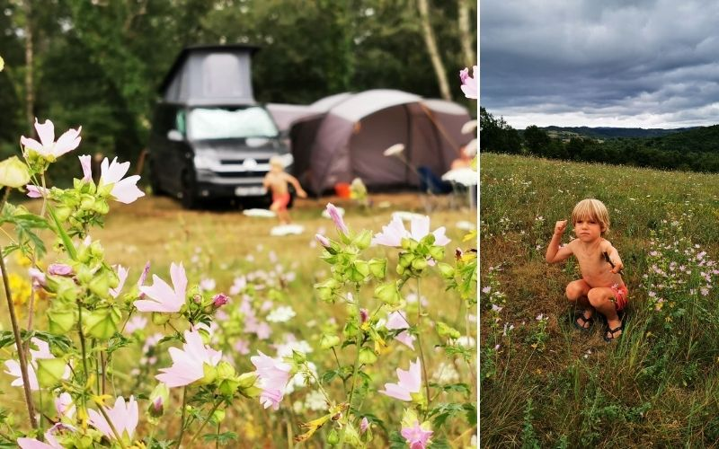 Little boy enjoying nature on a camping trip.