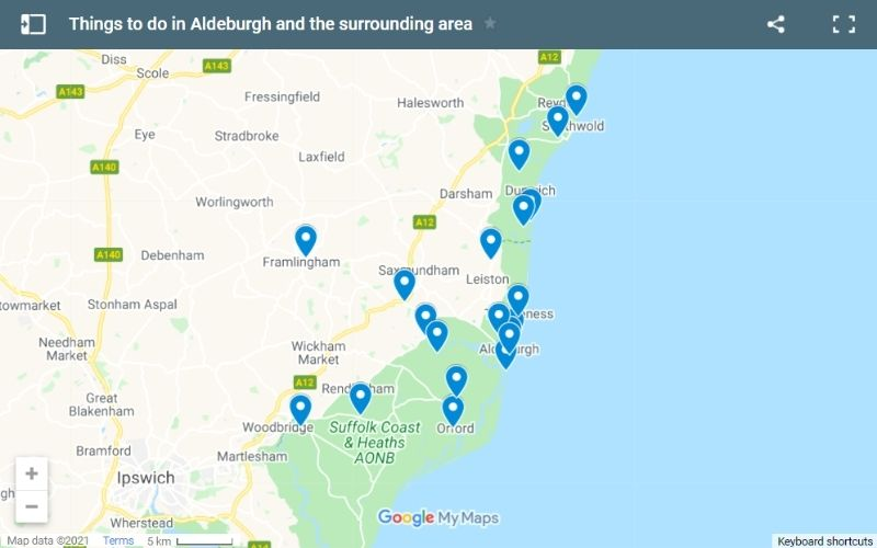 Map of things to do in Aldeburgh and the surrounding area.