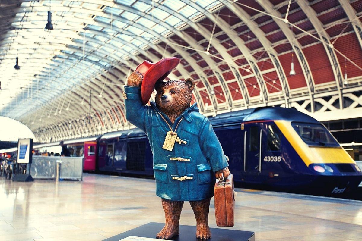 Paddington Bear at Paddington Station in London.