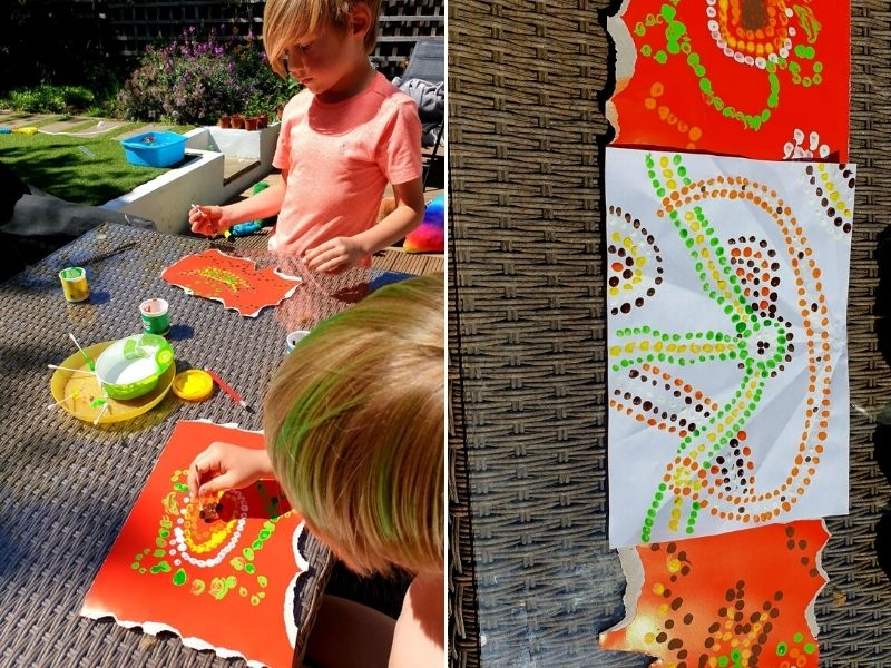 Painting outside.