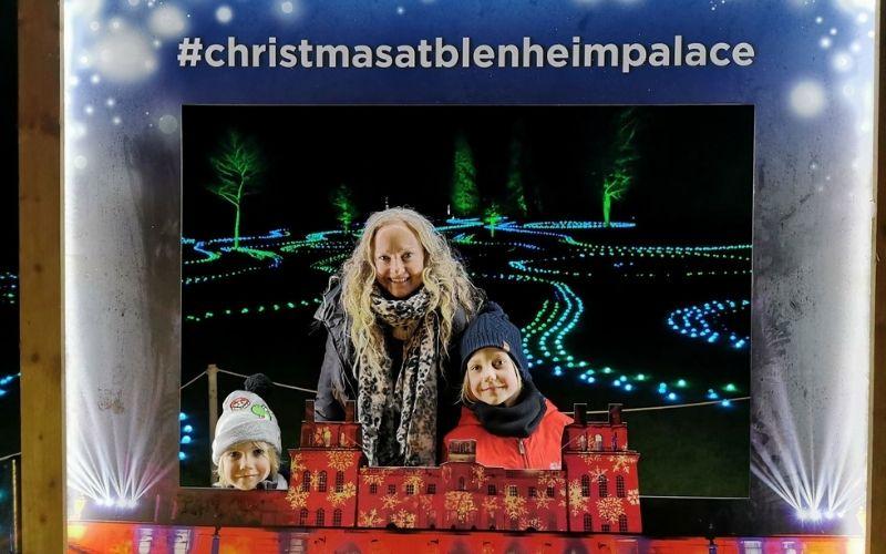 Souvenir photo of the Blenheim Palace Christmas light show.