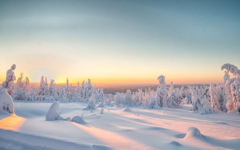 Sunrise in winter in Lapland.