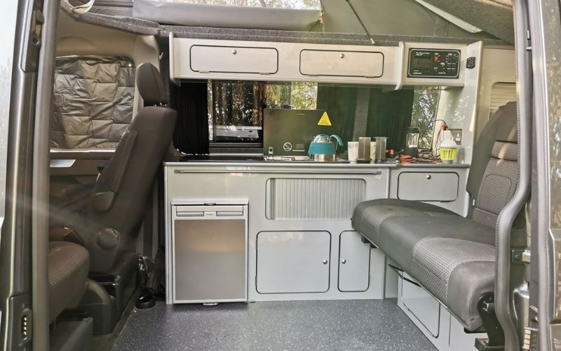 The kitchen in a VW campervan.