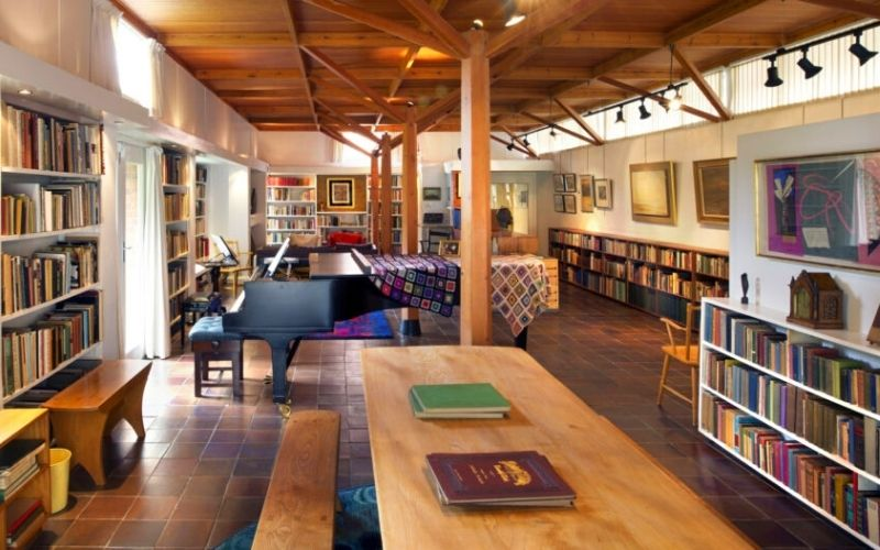 The library at the Red House in Aldeburgh.