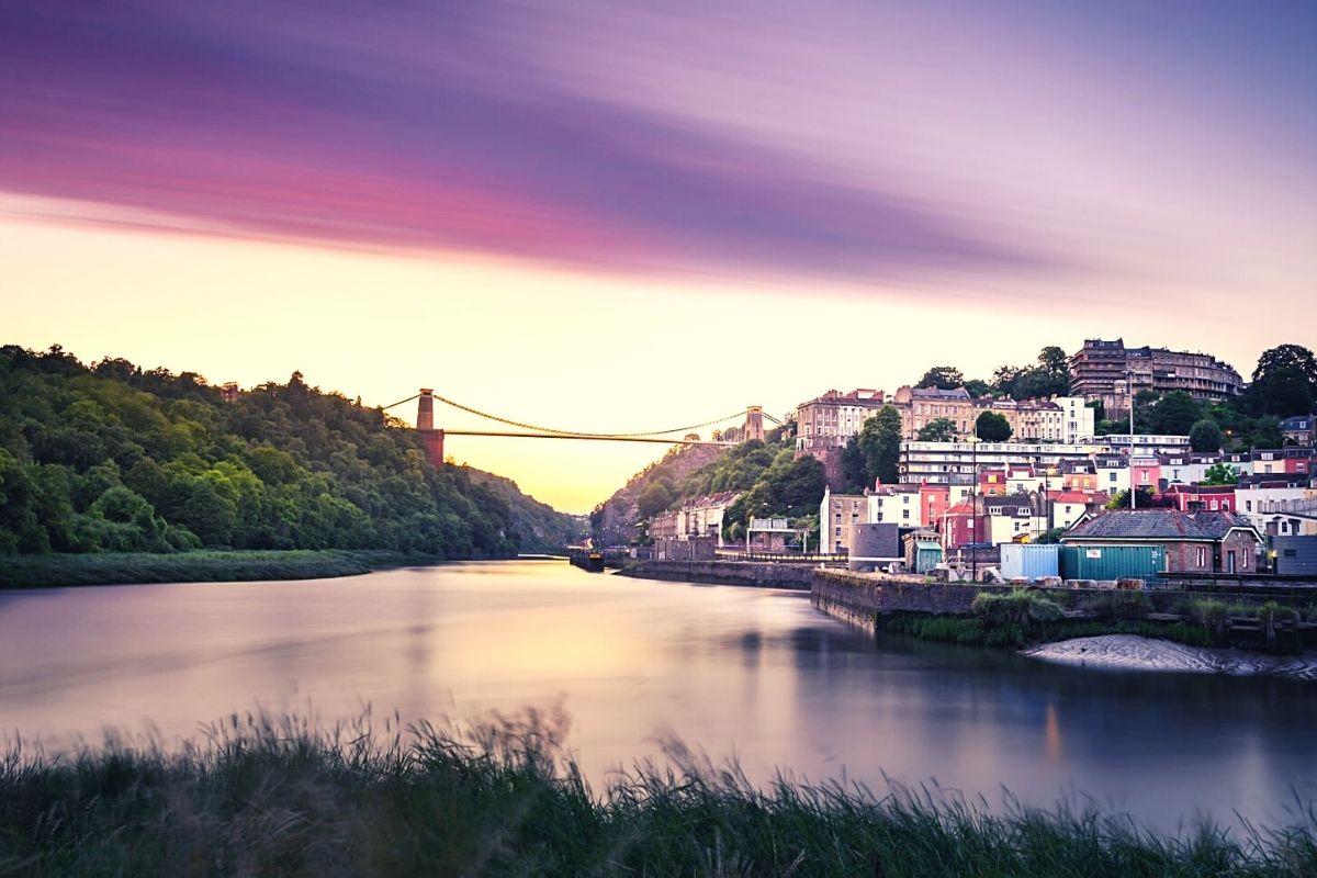 View of Clifton Suspension Bridge in Bristol.