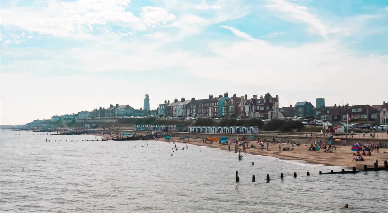View of Southwold beachfront from Southwold Pier.