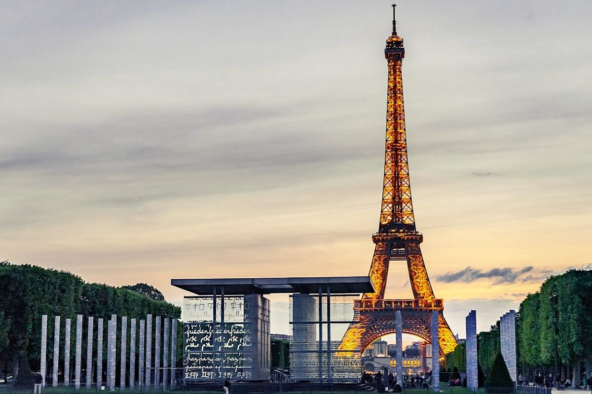 View of the Eiffel Tower at dusk.
